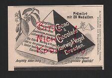 DRESDEN, Werbung 1898, Hartwig & Vogel AG TELL Kakao Schokolade Dessert