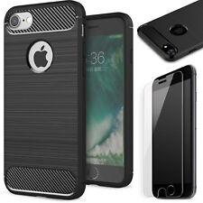 Schutz Glas 9H + Handy Hülle Apple iPhone 6 iPhone 6s TPU Schutz Case Carbon