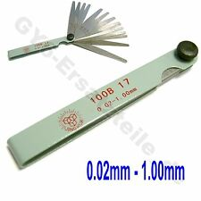 FEELER GAUGE 0.02-1MM 17 BLADES THICKNESS METRIC FILLER MEASURING TOOL SCOOTER