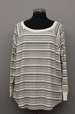 SUNDANCE WOMAN CLOTHING RAGLAN SLEEVE PULLOVER SHIRT TOP BLOUSE GRAY STRIPE Md