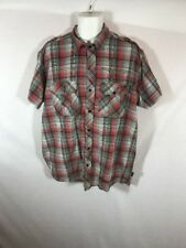 Men's Sean John Red Western Plaid Button Down Short Sleeve Shirt Sz XXL