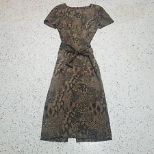 Sag Harbor Women's Dress ~ Sz 12 ~ Full / Modest ~ Black & Brown ~ Animal Print