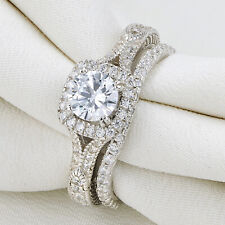 Silver Wedding Engagement Ring Set Size 5 1.7Ct Round White Cz Blue 925 Sterling