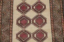 South-western Natural Dye Geometric IVORY Gabbeh Kashkoli Oriental Area Rug 4x7