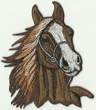 ECUSSON PATCH THERMOCOLLANT TETE DE CHEVAL MARRON Horse Head Embroidered