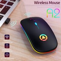 2.4GHz Wireless Mouse Silent USB Mice Rechargeable RGB For PC Laptop DPI AU