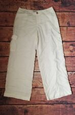 Tommy Bahama Womens Size 4 100% Linen Cargo Pants Cream Polyester Lined