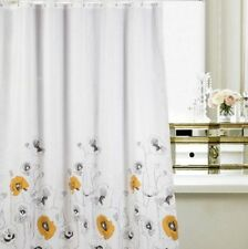 Yellow & Black Floral Flowers Picture Bathroom Fabric Shower Curtain ys805