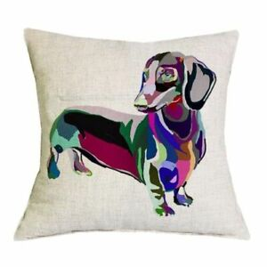 Dachshund Standing PILLOW COVER 18 In Sq Linen Dog Case Cushion Home Decor