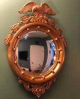 Vintage Federal Eagle Regency Gold Gilt Bullseye Convex Mirror