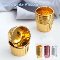 Gold Silver Crimping Muffin Cases Baking Mold Cake Paper Cups Cupcake Wrappers