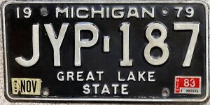 1979 Michigan Great Lake State American License Licence USA Number Plate JYP 187