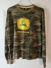 John Deere Long Sleeve Thermal Shirt Large L Yellow Green Camo