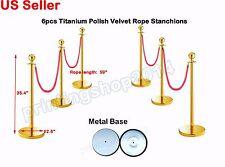 6pcs Thick Steel Velvet Rope Stanchion Titanium Polish Pole Post Crowd Queue
