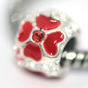 Red Flower Bead Charms Spacer Silver Fit Eupropean Chain Bracelet Making Jewelry