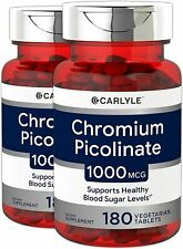 CHROMIUM PICOLINATE 1000 mcg Healthy Metabolism Vegan...