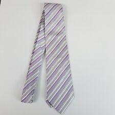 Versa Mens Tie Purple White GRay Stripes Classic Length