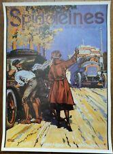 Affiche Huile Spidoleines Automobile tacot Georges Conrad