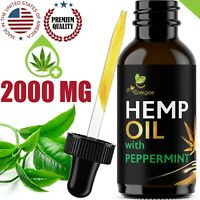 Peppermint Flavor Hemp Oil Extract For Pain Relief Anxiety Sleep 2000 mg