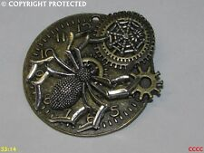 steampunk brooch badge pin bronze gearwheel clock watch silver spider Doctor Who