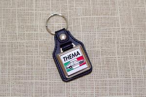 Lancia Thema Keyring - Leatherette & Chrome Keytag