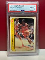 1986 87 Fleer Sticker Michael Jordan Rookie RC PSA 8 MINT HOF LAST DANCE