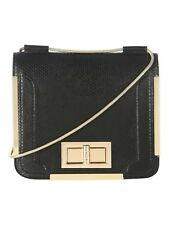 Jane Norman black across body gold metal lock hand bag, BNWT