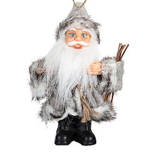 Christmas Standing / Hanging Mini Santa Decoration - Grey