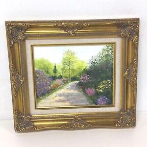 Gold Ornate Designed Framed Original Painting Garden Path By Gordon Tucker #453