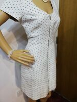 NEW KAREN MILLEN SPOTTED MINI DRESS SIZE UK 10 APPROX 61%COTTON 39%POLYESTER