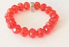 LOVELY RED FACETED CRYSTAL BEADS BRACELET WITH CARRIER FOR CLIP ON CHARMS - NEW