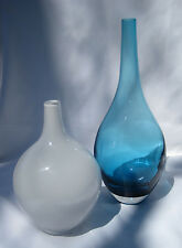 Pair of Art Glass Vases, Frosted White and Clear Blue