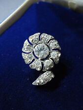Sublime Tiny Antique Victorian Diamond Paste Floral Brooch Lace Pin Solid Silver