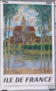 A. RAMBOURG   AFFICHE ANCIENNE  SNCF ILE DE FRANCE Litho - 1958
