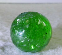 #11330m Vintage German Handmade Green Glass Mica Marble .73 Inches