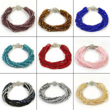 9 Layers Multi Color Czech Glass Crystal Beads Bracelet Magnetic Connector