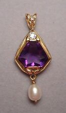 Antique Lavalier Pendant 14K Gold w/ Kite Shape Amethyst Diamond & Drop Pearl