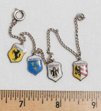 Vintage Germany Shield Sterling Silver Charm Bracelet Stuttgart Munchen etc. jds