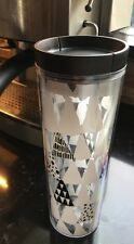 Starbucks White Christmas Tree Badge Tumbler with slide sip spout Gold NEW 16 oz