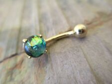 Green Faux Opal Gold Titanium Plated Belly Button Navel Ring Body Jewelry
