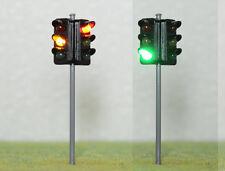 New 1 x 2 Way Traffic Signal R/Y/G LED Street Light W/12V Resistor O Scale 9cm