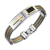 Men 3 Rows Wire Chain Bracelet Bangle Punk Stainless Steel Cross Bracelets Gifts