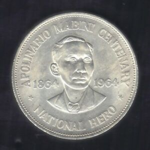 1964 PHILPPINES ONE PISO Apolinario Mabini National Hero 900 SILVER COIN KM#194