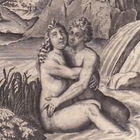 Gravure XVIIIe Hermaphrodite Salmacis Ἑρμαφρόδιτος Hermaphroditos Hermaphroditus