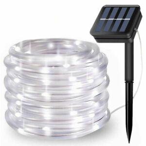 LED Solar Garden String Fairy Lights Wedding Party Rope Tube Outdoor Lamp White
