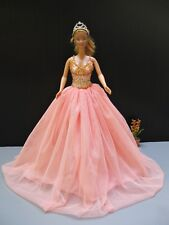 """Orange Gown Evening Vintage style Outfit Embroidery for Barbie Doll Clothing 12"""""""