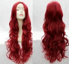 Fashionable dark red long curly women's wig+hairnet