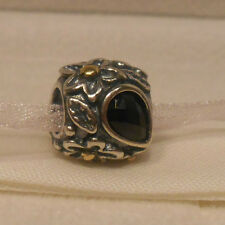 AUTHENTIC PANDORA~DEW DROPS, Black Onyx, 14k Gold & Silver Charm, Bead