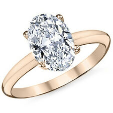 Moissanite 4 Prong Solitaire Engagement Ring 2.26 Ctw 14k Rose Gold Oval Cut