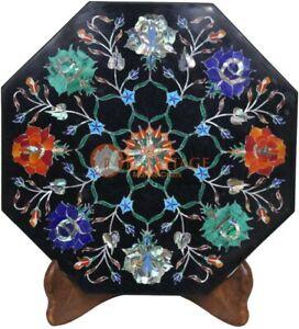 "12""x12"" Black Marble Tile Cum Top Table Semi Precious Floral Art Veterans Gifts"